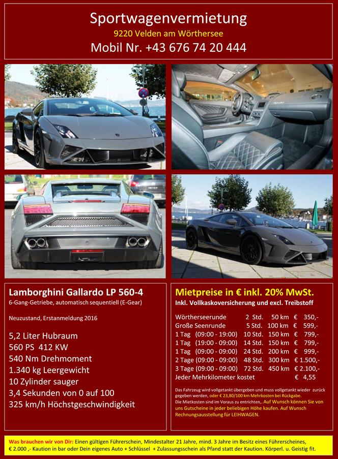 Vermietung Lamborghini Gallardo LP 560-4